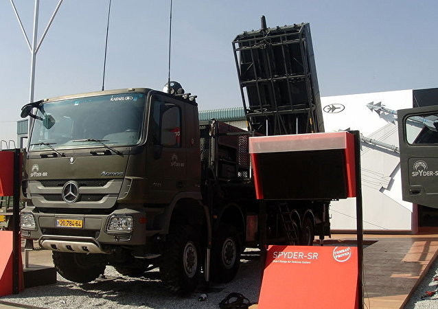 Rafael SPYDER SAM (Surface to Air Missile) air defense System at static display Aero India 2013