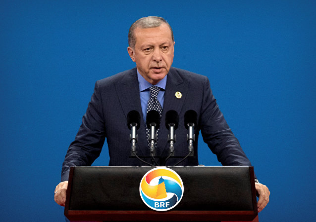 Turkey's President Tayyip Erdogan speaks during the opening ceremony of the Belt and Road Forum at the China National Convention Center (CNCC) in Beijing, May 14, 2017