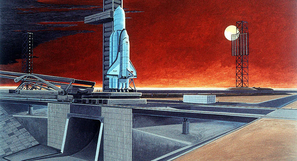 An artist's concept of a Soviet space shuttle and heavy-lift launch vehicle. (Soviet Military Power, 1986)
