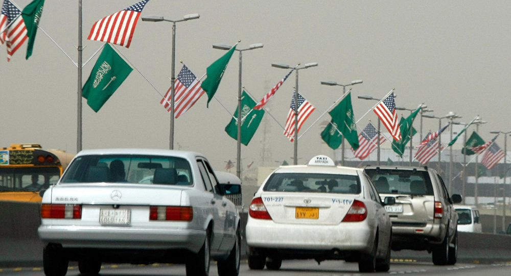 US and Saudi flags flutter on a main road in the Saudi capital Riyadh (File)