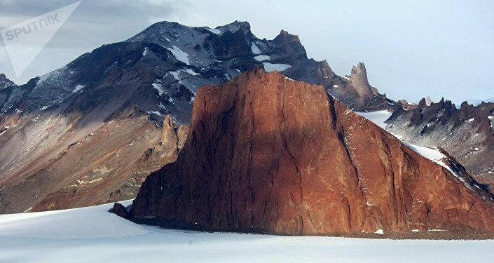 A mountain range near Russia's Novolazarevskaya station in the Antarctic