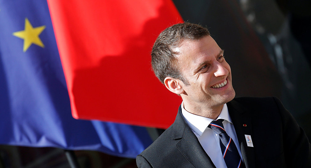 French President Emmanuel Macron reacts after a meeting with the International Olympic Committee (IOC) Evaluation Commission at the Elysee Place in Paris, France May 16, 2017.