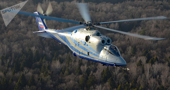 A laboratory helicopter based on the Mi-24K combat helicopter undergoes trials