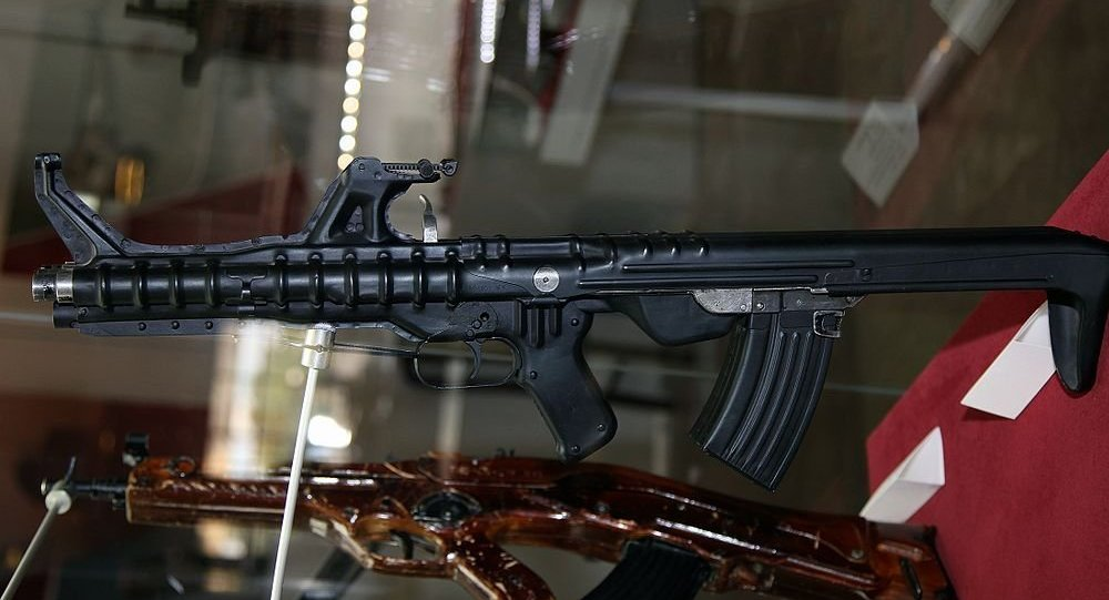 Triple barrel TKB-059 Korobov assault rifle at Tula State Arms Museum