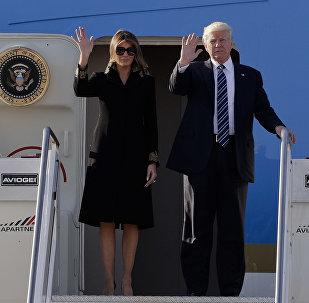 US President Donald Trump and his wife Melania arrive at Fiumicino's Leonardo Da Vinci International airport, near Rome, Tuesday, May 23, 2017.