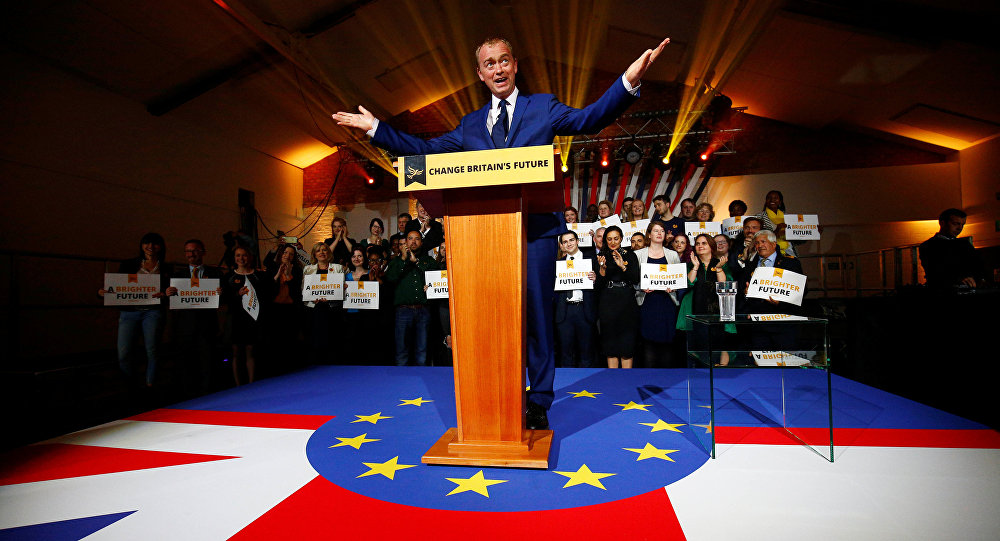 Party Leader Tim Farron delivers a speech.