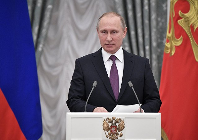 President Vladimir Putin addresses the ceremony to present state awards in science, culture, healthcare, sports and manufacturing to outstanding Russians