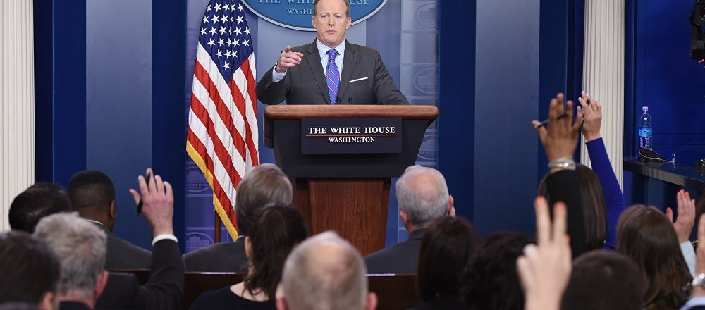 White House Press Secretary Sean Spicer speaks during the daily briefing in the Brady Briefing Room of the White House in Washington, DC