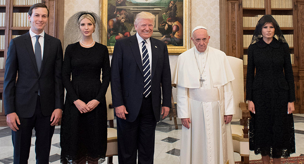 Pope Francis poses with US President Donald Trump (C) his wife Melania (R), Jared Kushner (L) and Ivanka Trump during a private audience at the Vatican, May 24, 2017.