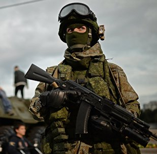 A soldier at the Russian Army Festival in Moscow.