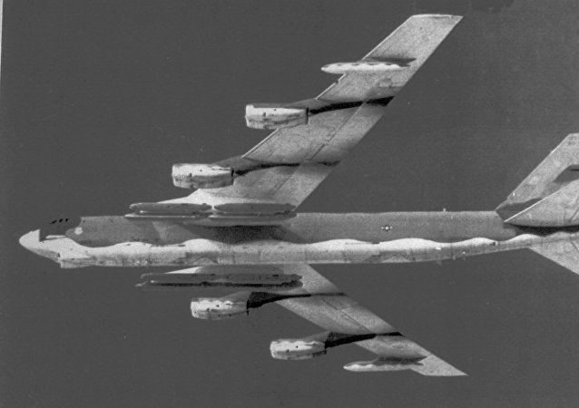 An Air Force B-52 bomber is shown in a November 1982 file photo.