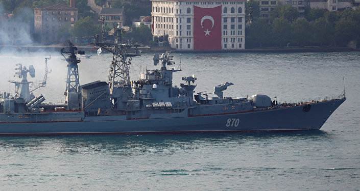 The Russian Navy's guided missile destroyer Smetlivy sails in the Bosphorus, on its way to the Mediterranean Sea, in Istanbul, Turkey, May 22, 2017