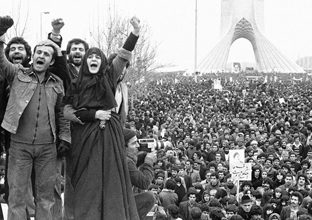 Supporters of Ayatollah Khomeini hold a demonstration in Iran during the Islamic Revolution of 1979