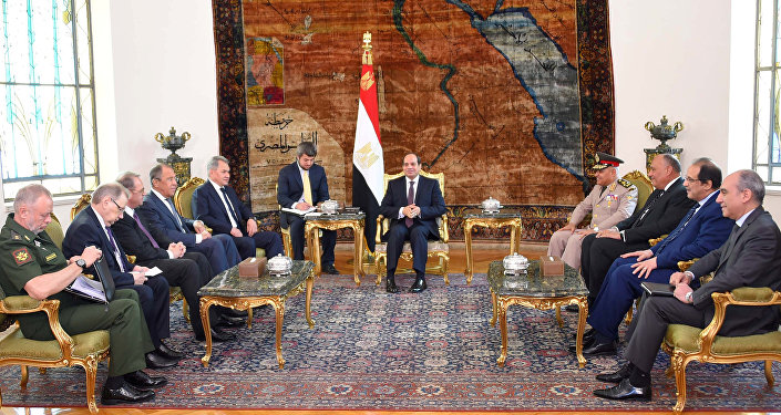 Egyptian President Abdel Fattah al-Sisi (C) meets with Russian Foreign Minister Sergei Lavrov (4th L), Russian Defence Minister Sergei Shoigu (5th L) and other delegates from Egypt and Russia at the Ittihadiya presidential palace in Cairo, Egypt May 29, 2017 in this handout picture courtesy of the Egyptian Presidency