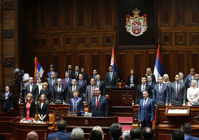 Serbia's newly re-elected President Aleksandar Vucic takes oath for a new term of office during an inauguration ceremony, in Belgrade, Serbia