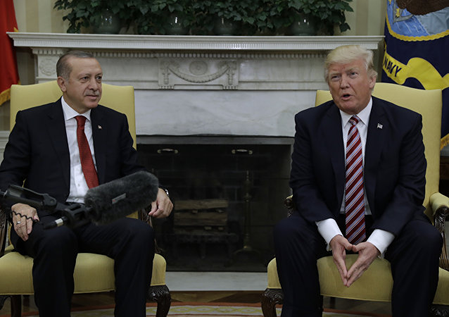 President Donald Trump meets with Turkish President Recep Tayyip Erdogan in the Oval Office of the White House in Washington. File photo