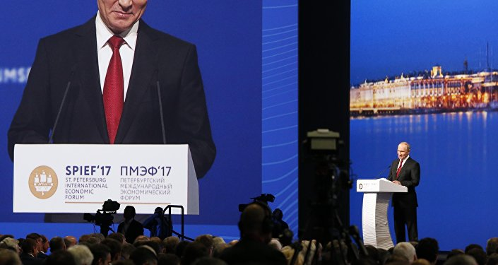 Russian President Vladimir Putin delivers a speech during a session of the St. Petersburg International Economic Forum (SPIEF), Russia, June 2, 2017.