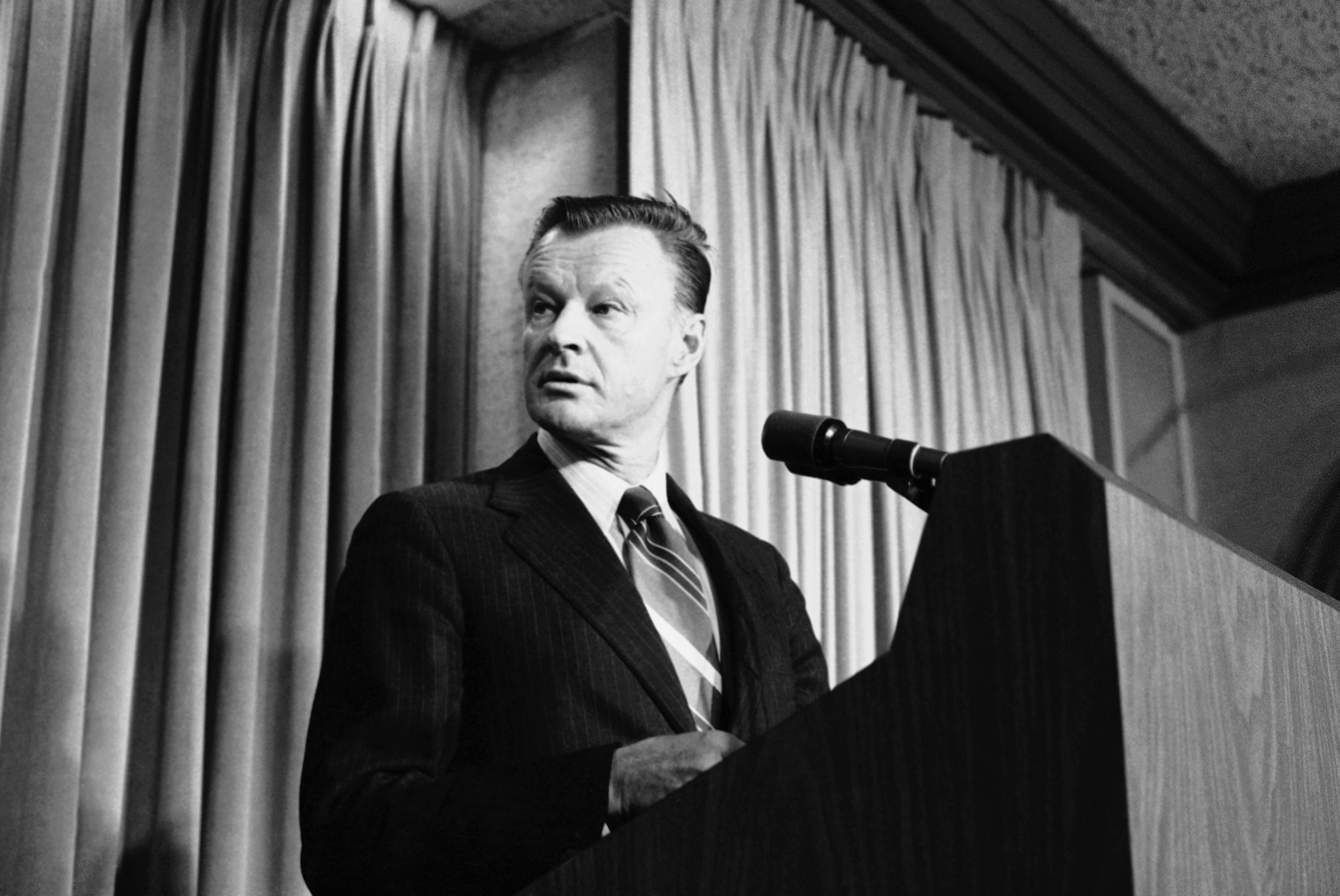 National Security Affairs Adviser Zbigniew Brzezinski tells a Washington news briefing in Washington,, Friday, May 11, 1979 that President Carter and Soviet President Leonid Brezhnev will meet from June 15 to 18 in Vienna to sign their new Salt II treaty