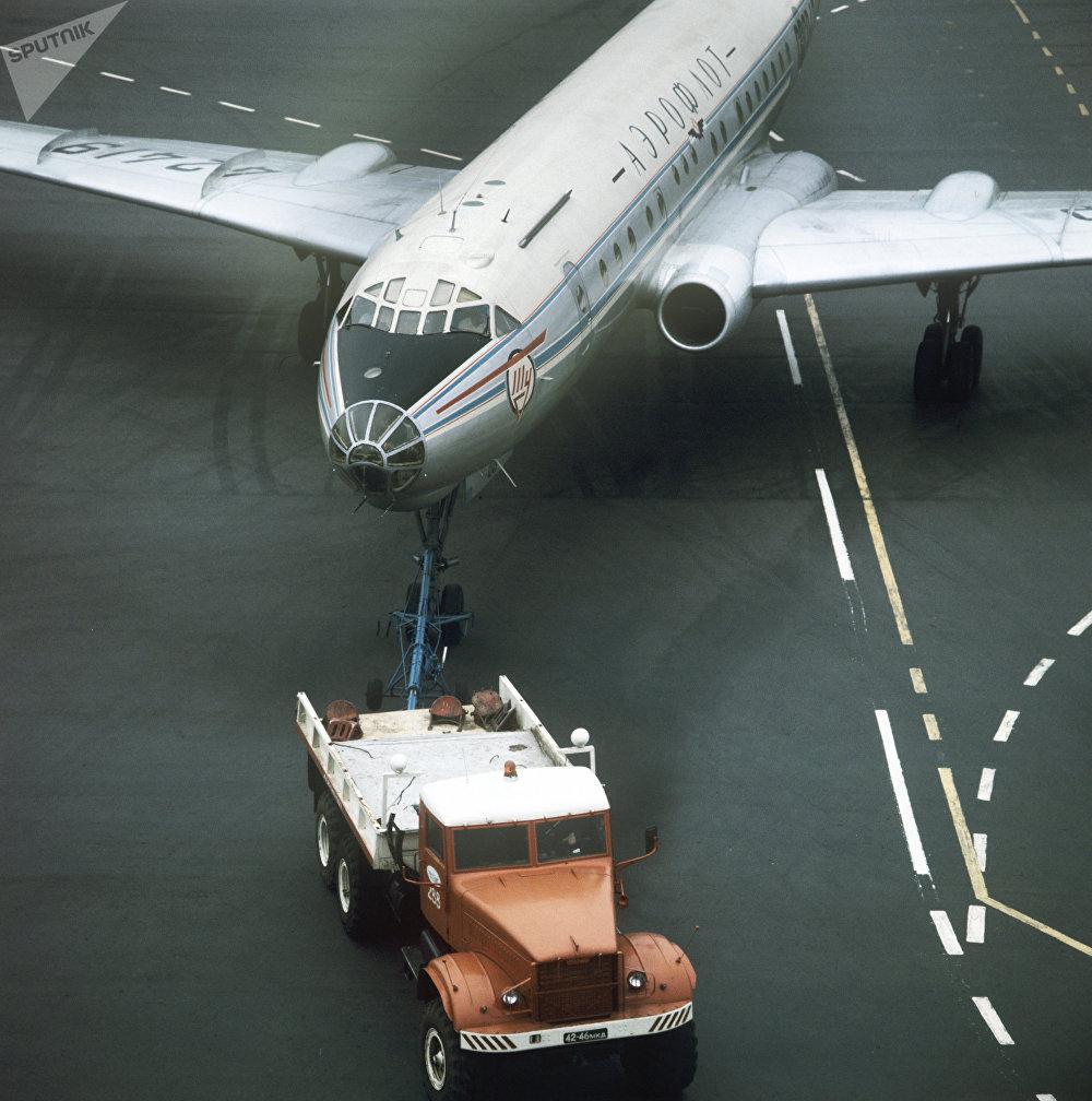 A Tupolev Tu-104 airliner