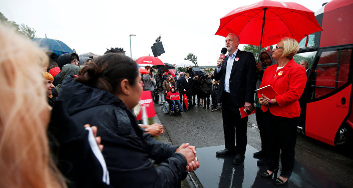 Jeremy Corbyn, leader of Britain's opposition Labour Party speaks at an election campaign event at Hemlington recreation centre in Middlesbrough, June 5, 2017