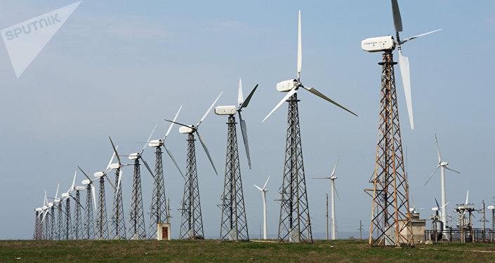 Wind power in the town of Mirny, 30 km from Yevratoria, Crimea