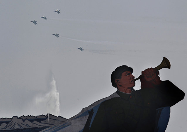 North Korean military jets take part in a mass military parade in Pyongyang's Kim Il Sung Square (File)