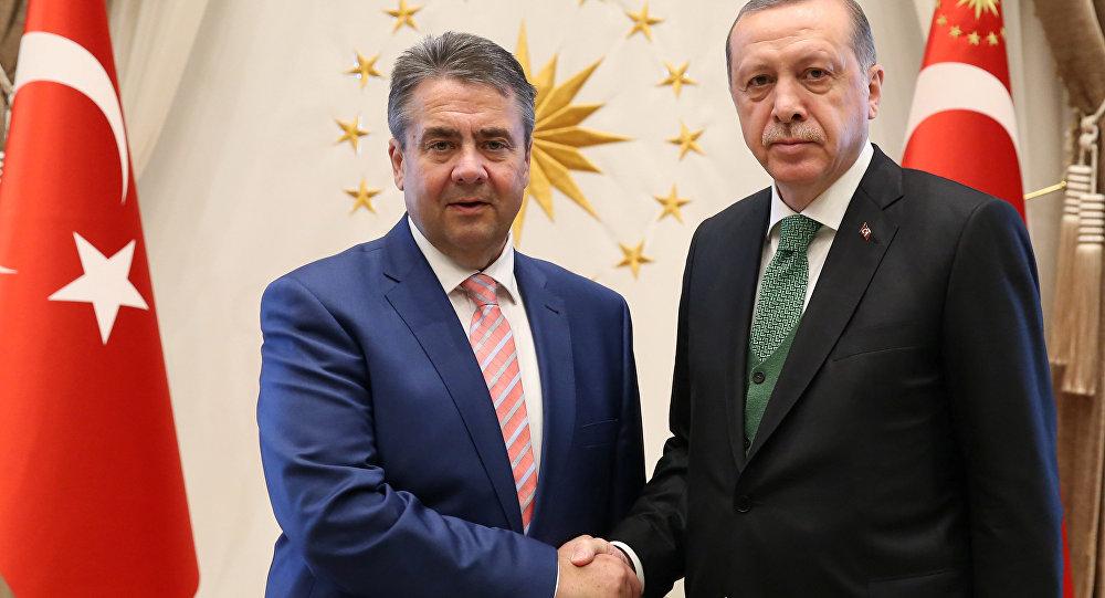 Turkish President Tayyip Erdogan meets with German Foreign Minister Sigmar Gabriel in Ankara, Turkey, May 5, 2017.