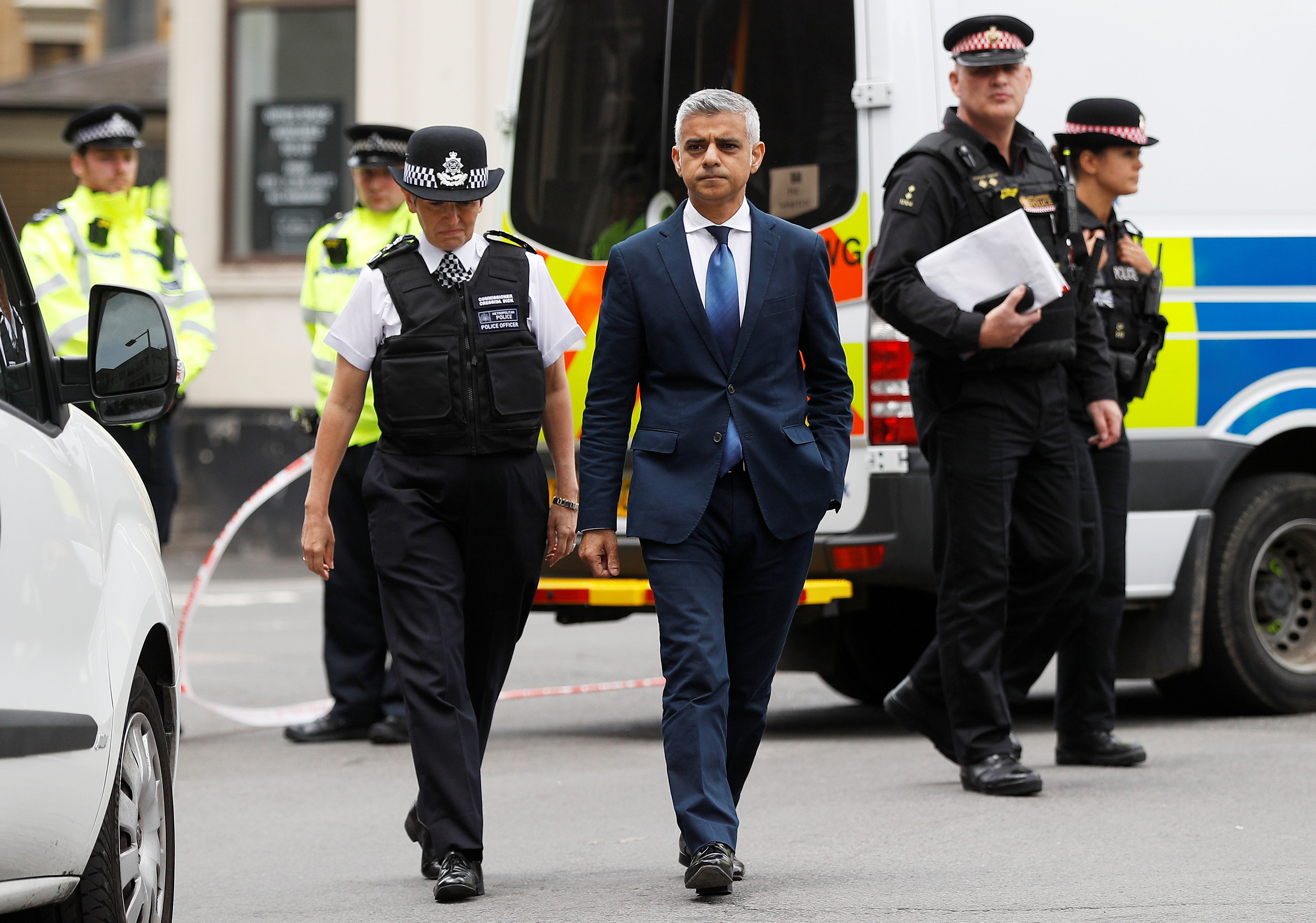 Mayor of London Sadiq Khan and Metropolitan Police Commissioner Cressida Dick visit the scene of the attack on London Bridge and Borough Market which left 7 people dead and dozens of injured in central London, Britain, June 5, 2017