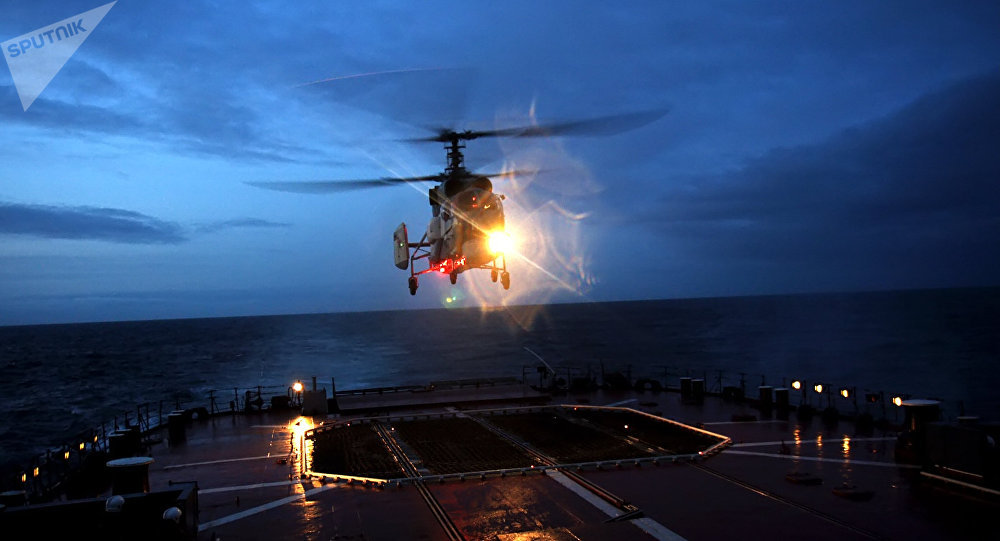 Night flights of helicopters of a group of warships of the Russian Northern Fleet in the North Eastern Atlantic