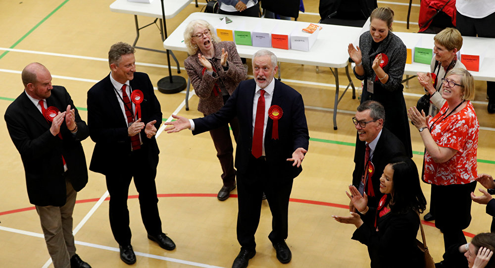 Jeremy Corbyn, leader of Britain's opposition Labour Party, reacts as he arrives at a counting centre for Britain's general election in London, June 9, 2017.