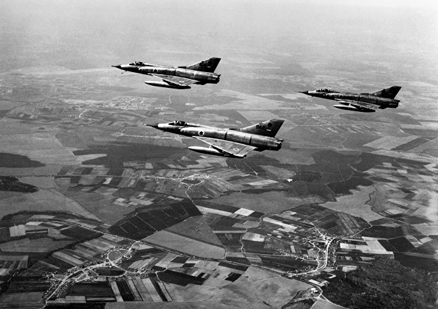 This file photo taken on March 1, 1967 shows Israeli airforce Dassault Mirage III fighters flying over Israel during a training three months ahead of the Six-Day Arab-Israeli war.