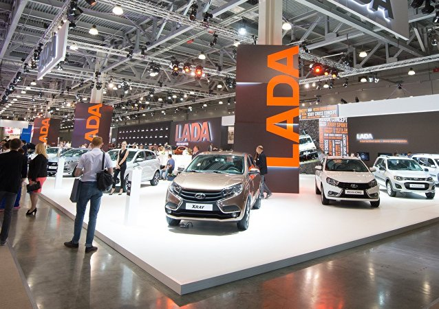 LADA pavilion at the 2016 Moscow International Automobile Salon at Crocus Expo in Moscow. AvtoVaz has significantly expanded its lineup of contemporary car designs in recent years.