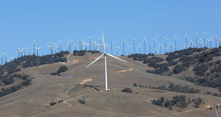 Wind turbine (front C) is pictured at a wind farm in Tehachapi, California, U.S. (File)