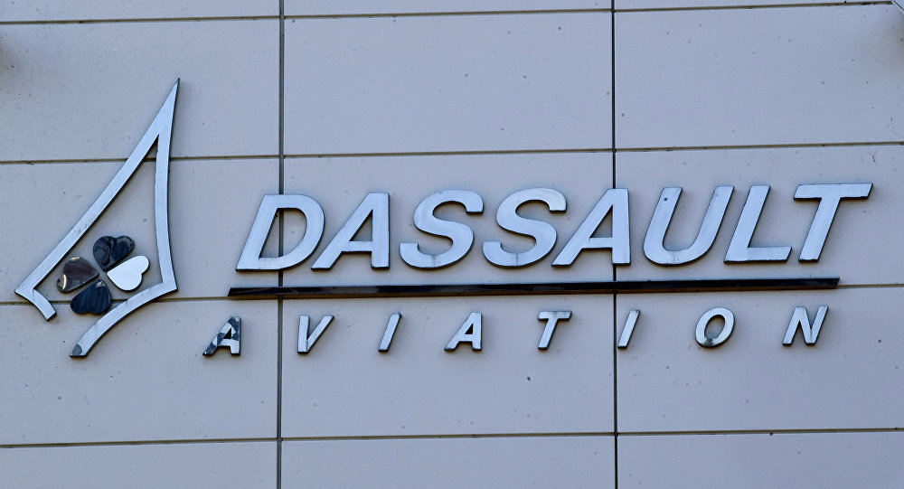 The logo of French aerospace company Dassault Aviation is pictured in Surensnes, outside Paris. (File)