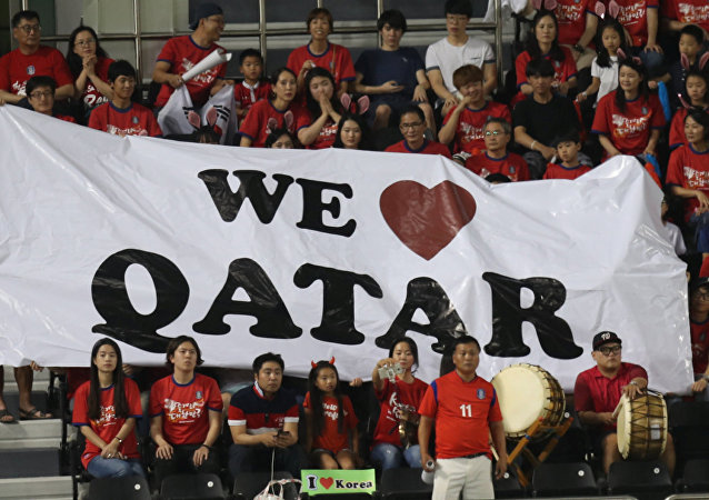 Football Soccer - Qatar v South Korea - World Cup 2018 Qualifiers - Doha, Qatar - 13/6/17- Fans watch the match.
