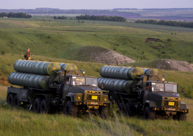 S-300 Favorite surface-to-air missile systems during a bilateral drill of air defense and aviation forces of the Western Military Distric