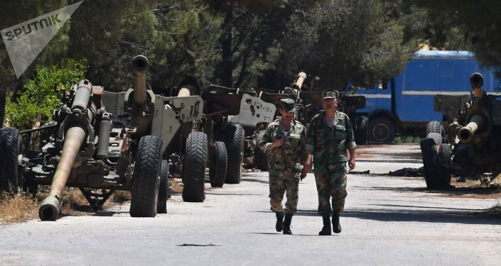 At the artillery weapon, mortar and small arms repair works in Hama province, Syria