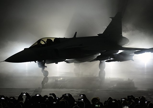The new E version of the Swedish JAS 39 Gripen multi role fighter being rolled out at SAAB in Linkoping, Sweden