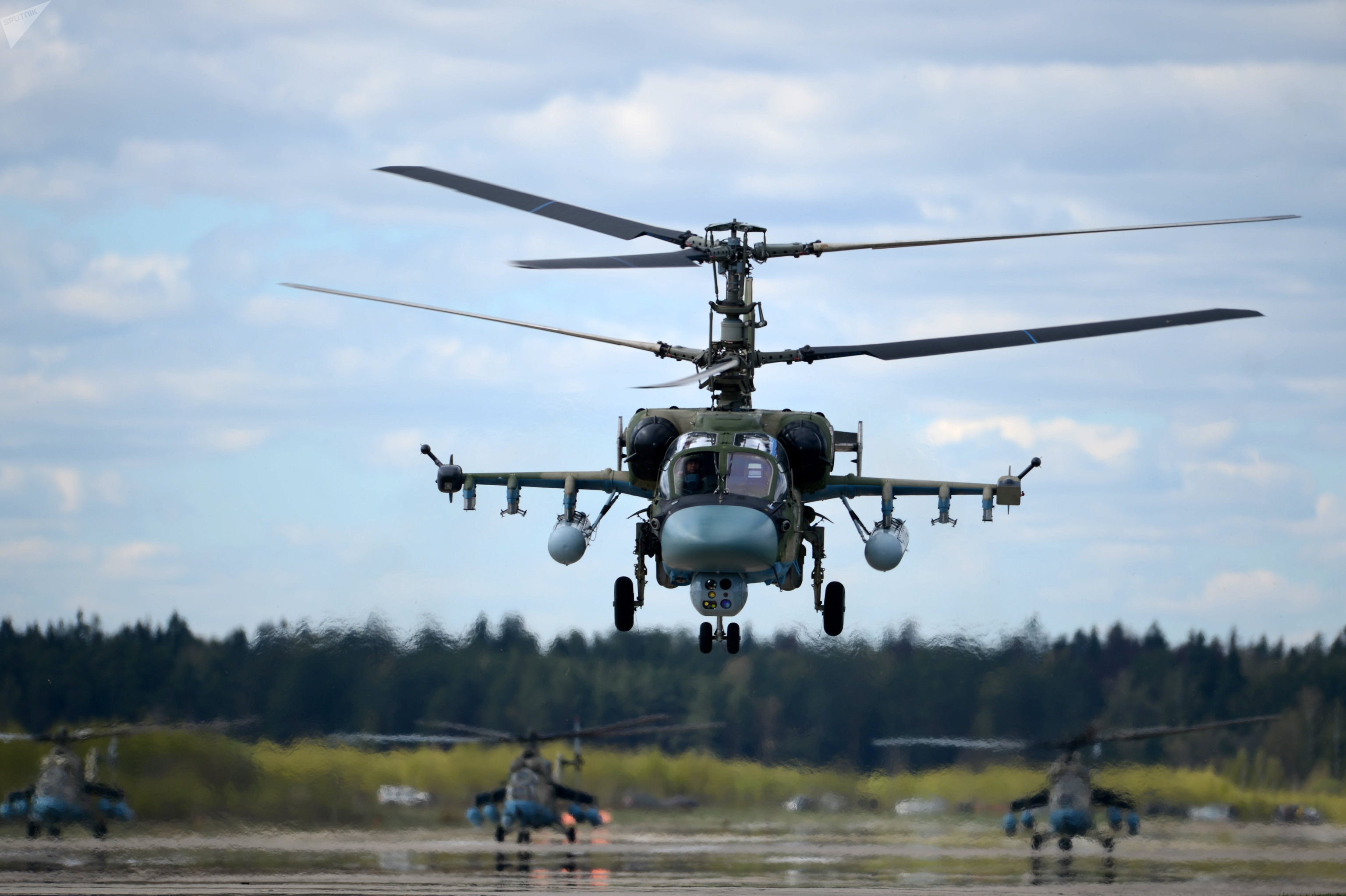 A Ka-52 Alligator attack helicopter during a rehearsal of the airshow for the Victory Day parade.