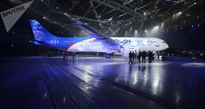 Presentation of MC-21-300 mid-range aircraft at the Irkutsk Aircraft Plant (Irkut Corporation)