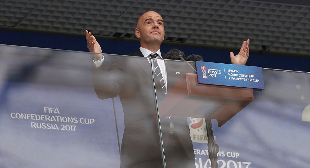 Soccer Football - Russia v New Zealand - FIFA Confederations Cup Russia 2017 - Group A - Saint Petersburg Stadium, St.Petersburg, Russia - June 17, 2017 FIFA president Gianni Infantino before the match