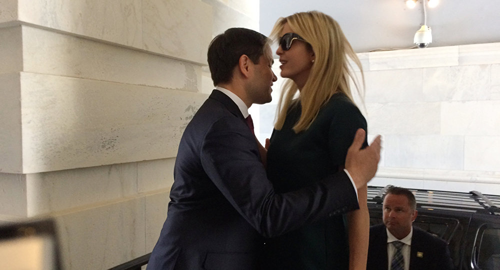 Ivanka Trump, daughter of President Donald Trump, is greeted by Sen. Marco Rubio, R-Fla., as she arrives at the Capitol to meet with lawmakers about parental leave, in Washington, Tuesday, June 20, 2017.