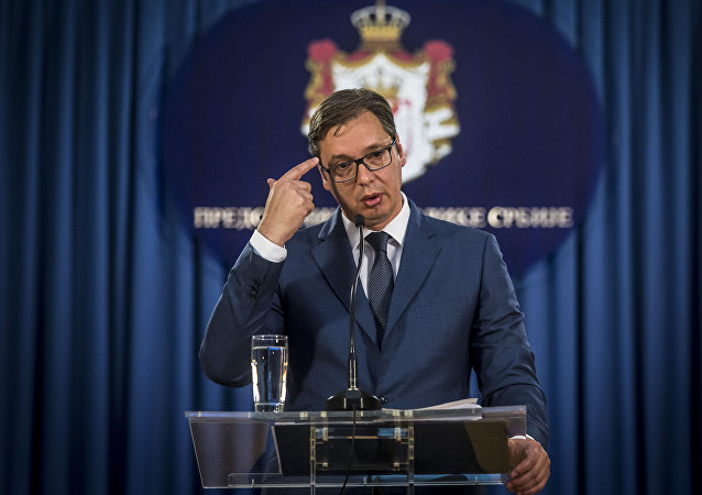 Serbian President Aleksandar Vucic gives a press conference in Belgrade, on June 15, 2017