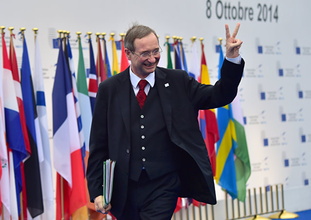 Christoph Leitl, Honorary Member of SME Europe, the business organization of the European People's Party, arrives to attend an European Union (EU) extraordinary summit Growth and Employment on October 8, 2014 in Milan
