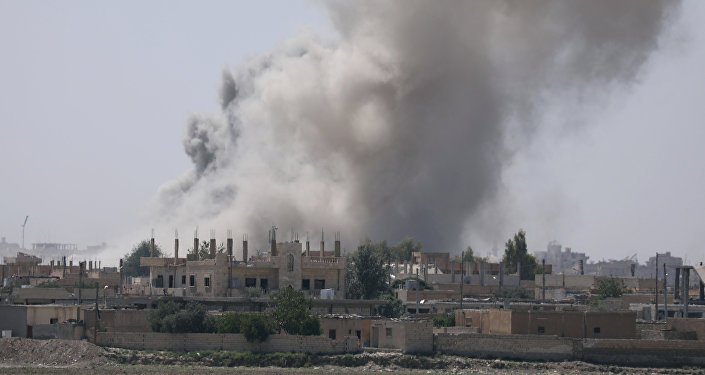 Smoke rises from the Raqqa province Syria. (File)