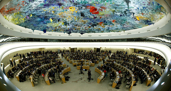 Overview of the United Nations Human Rights Council is seen in Geneva, Switzerland June 6, 2017