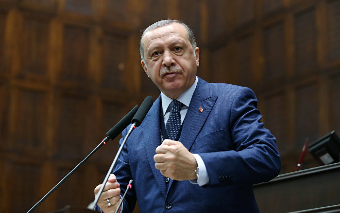 Turkish President Tayyip Erdogan addresses members of parliament from his ruling AK Party (AKP) during a meeting at the Turkish parliament in Ankara, Turkey, June 13, 2017