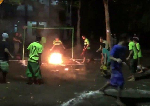 Kids Play Fire Football