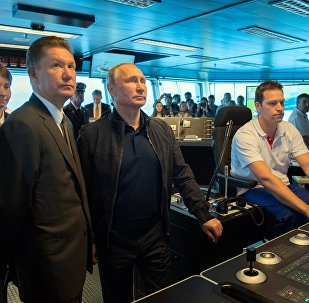 Russian President Vladimir Putin held phone talks with his Turkish counterpart Recep Tayyip Erdogan aboard an installation vessel, informing him that pipe-laying work has started at the Turkish Stream pipeline's deep-water section.