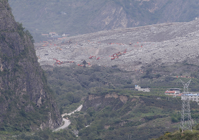 A general view shows the site of a landslide that occurred in Xinmo Village, Mao County, Sichuan province, China June 25, 2017.